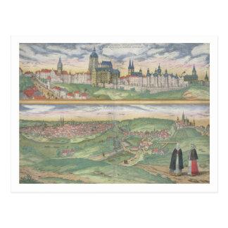"Postal Mapa de Praga, de ""Civitates Orbis Terrarum"" cerca"