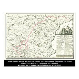 Postal Mapa de ruta del Don Quijote - Cervantes