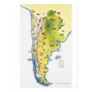 Postal Mapa de Suramérica