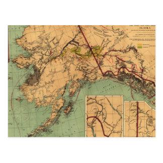 Postal Mapa del carbón y del oro de Alaska