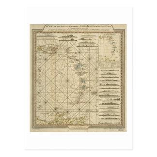Postal Mapa del Caribe 1784 de las islas de la Virgen de