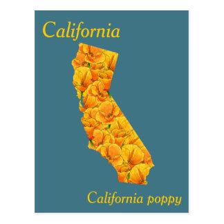 Postal Mapa del collage de la flor de estado de