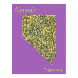 Postal Mapa del collage de la flor de estado de Nevada
