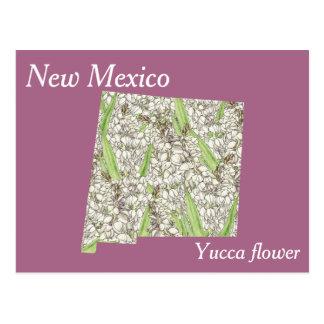 Postal Mapa del collage de la flor de estado de New