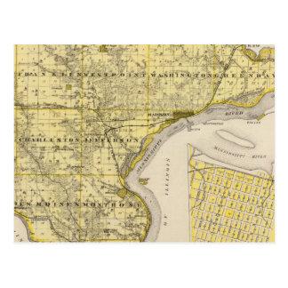 Postal Mapa del condado de Lee y Montrose, estado de Iowa