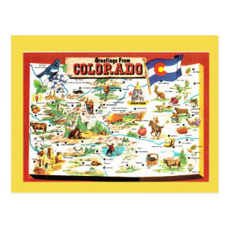 Postal Mapa del estado de Colorado