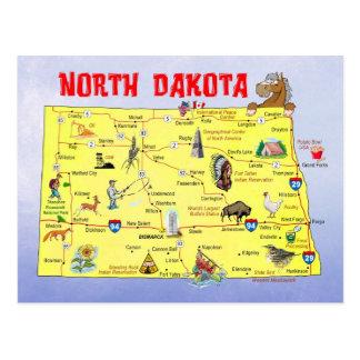 Postal Mapa del estado de Dakota del Norte