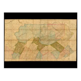 Postal Mapa del estado de Pennsylvania en 1792