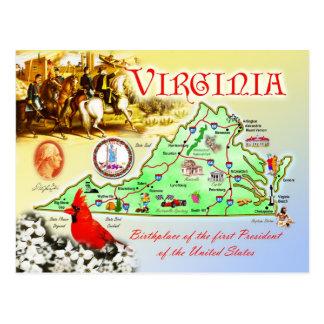 Postal Mapa del estado de Virginia