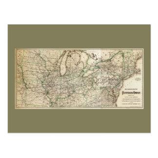 Postal Mapa del ferrocarril de Pennsylvania (1871)