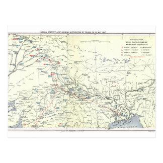 Postal Mapa del motín indio, distribución de tropas, el 1