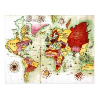 Postal Mapa del mundo 1675