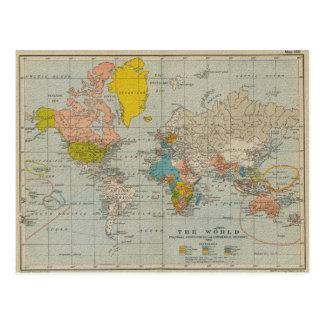 Postal Mapa del mundo 1910 del vintage