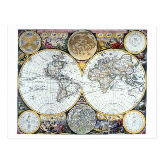 Postal Mapa del mundo antiguo, atlas Maritimus del
