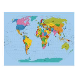 Postal Mapa del mundo brillante
