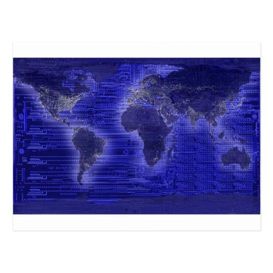 Postal mapa del mundo de la luz eléctrica
