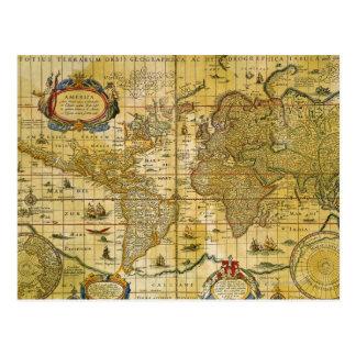 Postal Mapa del mundo del vintage