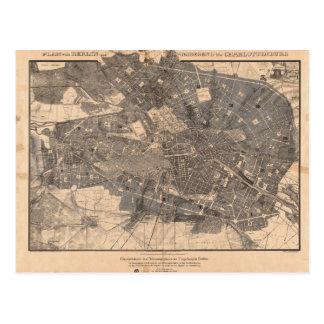 Postal Mapa del plan de desarrollo de Berlín Alemania en