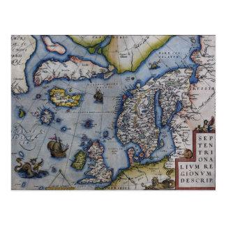 Postal Mapa del siglo XVI de Escandinavia