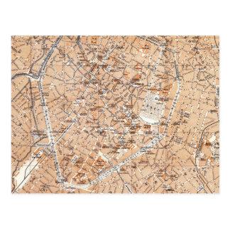 Postal Mapa del vintage de Bruselas (1905)