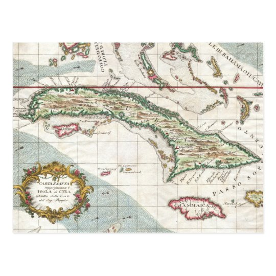 Postal Mapa del vintage de Cuba y de Jamaica (1763)