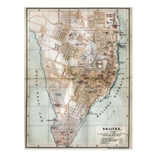 Postal Mapa del vintage de Halifax Nueva Escocia (1890)