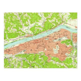 Postal Mapa del vintage de Huntington Virginia Occidental