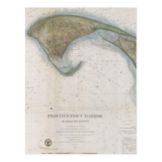 Postal Mapa del vintage de Provincetown