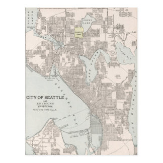 Postal Mapa del vintage de Seattle Washington (1901)