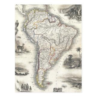 Postal Mapa del vintage de Suramérica (1850)