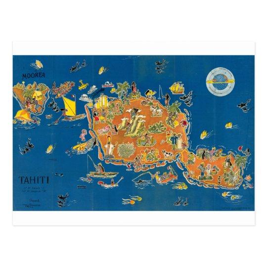 Postal Mapa del vintage de Tahití