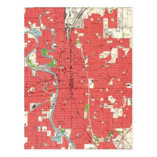 Postal Mapa del vintage de Wichita Kansas (1961)