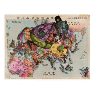Postal Mapa del vintage del mundo hacia 1900