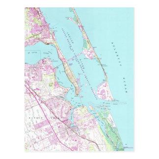 Postal Mapa del vintage del puerto Sta. Lucía Inlet