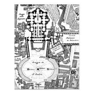 Postal Mapa del vintage del Vatican (1914)