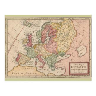 Postal Mapa histórico 1721 de Europa
