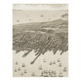 Postal Mapa ilustrado del vintage de Provincetown (1882)
