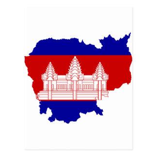 Postal Mapa KH de la bandera de Camboya