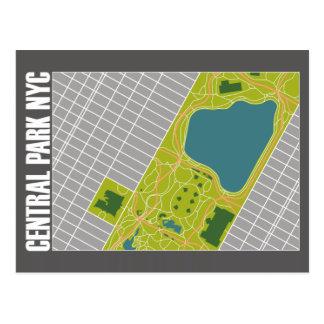 Postal Mapa moderno New York City del Central Park