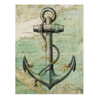 Postal Mapa náutico antiguo con el ancla