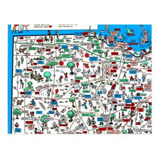 Postal Mapa retro 1966 de Toledo Findlay Marion Bowling