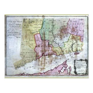Postal Mapa viejo 1766 de Connecticut