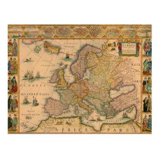 Postal Mapa viejo de Europa