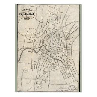 Postal Mapa viejo de Hartford, Connecticut (1859)