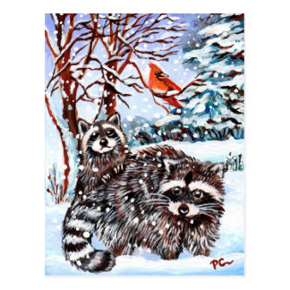 Postal Mapaches en la nieve
