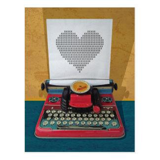 Postal Máquina de escribir de juguete retra del vintage
