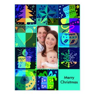 Postal Marco de la foto de los símbolos del navidad + su