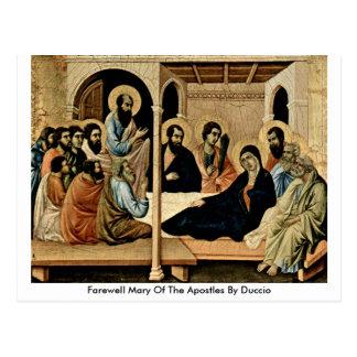 Postal Maria de despedida de los apóstoles por Duccio