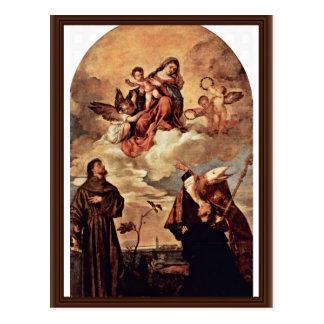Postal Maria en gloria con el niño y los ángeles de