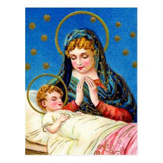 Postal Maria y un bebé durmiente Jesús